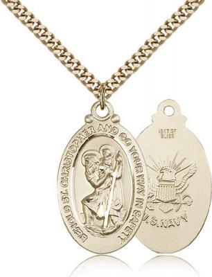 "Gold Filled St. Christopher Navy Pendant, Stainless Gold Heavy Curb Chain, 1 1/8"" x 5/8"""