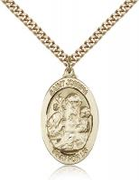 "Gold Filled St. Joseph Pendant, Stainless Gold Heavy Curb Chain, 1 1/8"" x 5/8"""