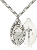 "Sterling Silver Pope John Paul II Pendant, Stainless Silver Heavy Curb Chain, 1 1/8"" x 3/4"""