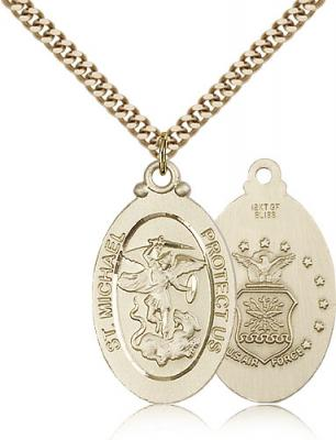 "Gold Filled St. Michael / Air Force Pendant, Stainless Gold Heavy Curb Chain, 1 1/8"" x 5/8"""
