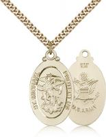 "Gold Filled St. Michael the Archangel Army Pendant, Stainless Gold Heavy Curb Chain, 1 1/8"" x 5/8"""