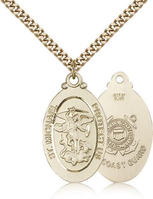 "Gold Filled St. Michael / Coast Guard Pendant, Stainless Gold Heavy Curb Chain, 1 1/8"" x 5/8"""