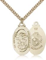 "Gold Filled St. Michael / Marines Pendant, Stainless Gold Heavy Curb Chain, 1 1/8"" x 5/8"""