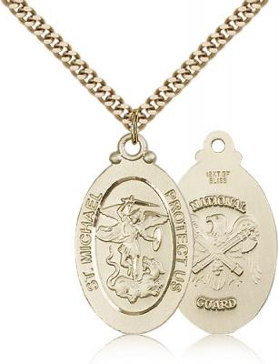 "Gold Filled St. Michael / Nat'l Guard Pendant, Stainless Gold Heavy Curb Chain, 1 1/8"" x 5/8"""
