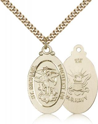 "Gold Filled St. Michael / Navy Pendant, Stainless Gold Heavy Curb Chain, 1 1/8"" x 5/8"""