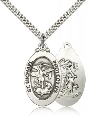 "Sterling Silver St. Michael the Archangel Pendant, Stainless Silver Heavy Curb Chain, 1 1/8"" x 5/8"""