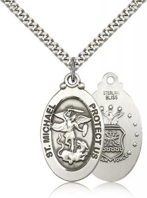 "Sterling Silver St. Michael / Air Force Pendant, Stainless Silver Heavy Curb Chain, 1 1/8"" x 5/8"""