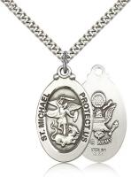 "Sterling Silver St. Michael the Archangel Army Pendant, Stainless Silver Heavy Curb Chain, 1 1/8"" x 5/8"""