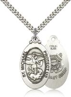 "Sterling Silver St. Michael / Coast Guard Pendant, Stainless Silver Heavy Curb Chain, 1 1/8"" x 5/8"""