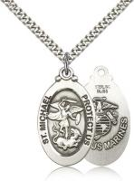 "Sterling Silver St. Michael / Marines Pendant, Stainless Silver Heavy Curb Chain, 1 1/8"" x 5/8"""