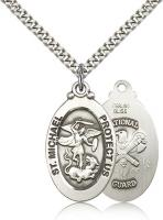 "Sterling Silver St. Michael / Nat'l Guard Pendant, Stainless Silver Heavy Curb Chain, 1 1/8"" x 5/8"""