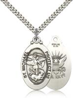 "Sterling Silver St. Michael / Navy Pendant, Stainless Silver Heavy Curb Chain, 1 1/8"" x 5/8"""