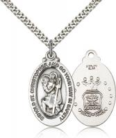 "Sterling Silver St. Christopher Air Force Pendant, Stainless Silver Heavy Curb Chain, 1 1/8"" x 5/8"""