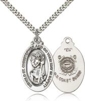 "Sterling Silver St. Christopher Coast Guard Pendant, Stainless Silver Heavy Curb Chain, 1 1/8"" x 5/8"""