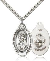 "Sterling Silver St. Christopher Pendant, Stainless Silver Heavy Curb Chain, 1 1/8"" x 5/8"""