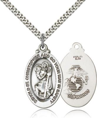 "Sterling Silver St. Christopher Marines Pendant, Stainless Silver Heavy Curb Chain, 1 1/8"" x 5/8"""