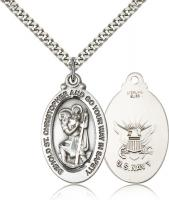 "Sterling Silver St. Christopher Navy Pendant, Stainless Silver Heavy Curb Chain, 1 1/8"" x 5/8"""