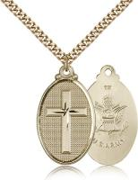 "Gold Filled Cross / Army Pendant, Stainless Gold Heavy Curb Chain, 1 1/4"" x 5/8"""