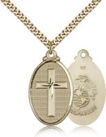 "Gold Filled Cross / Marines Pendant, Stainless Gold Heavy Curb Chain, 1 1/4"" x 5/8"""
