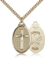 "Gold Filled Cross / National Guard Pendant, Stainless Gold Heavy Curb Chain, 1 1/4"" x 5/8"""