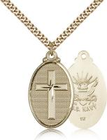 "Gold Filled Cross / Navy Pendant, Stainless Gold Heavy Curb Chain, 1 1/4"" x 5/8"""