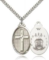 "Sterling Silver Cross / Army Pendant, Stainless Silver Heavy Curb Chain, 1 1/4"" x 5/8"""