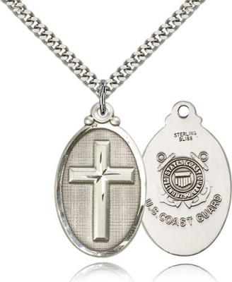 "Sterling Silver Cross / Coast Guard Pendant, Stainless Silver Heavy Curb Chain, 1 1/4"" x 5/8"""