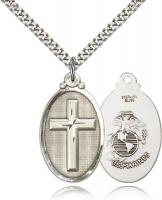 "Sterling Silver Cross / Marines Pendant, Stainless Silver Heavy Curb Chain, 1 1/4"" x 5/8"""