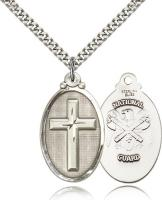 "Sterling Silver Cross / National Guard Pendant, Stainless Silver Heavy Curb Chain, 1 1/4"" x 5/8"""