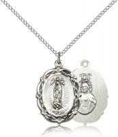 "Sterling Silver Our Lady of Guadalupe Pendant, Sterling Silver Lite Curb Chain, 7/8"" x 5/8"""
