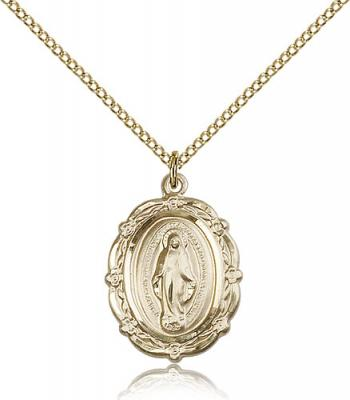 "Gold Filled Miraculous Pendant, Gold Filled Lite Curb Chain, 7/8"" x 5/8"""