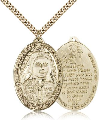 "Gold Filled St. Therese Pendant, Stainless Gold Heavy Curb Chain, 1 3/8"" x 1"""