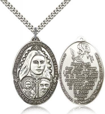 "Sterling Silver St. Therese Pendant, Stainless Silver Heavy Curb Chain, 1 3/8"" x 1"""