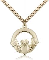"Gold Filled Claggagh Pendant, Stainless Gold Heavy Curb Chain, 1"" x 1"""