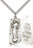"Sterling Silver Our Lady of Mental Peace Pendant, Stainless Silver Heavy Curb Chain, 1 3/8"" x 1/2"""