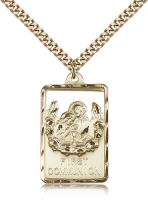 "Gold Filled Communion / First Reconciliation Penda, Stainless Gold Heavy Curb Chain, 1 1/4"" x 3/4"""