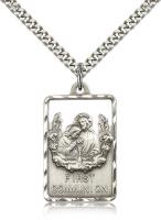 "Sterling Silver Communion / First Reconciliation P, Stainless Silver Heavy Curb Chain, 1 1/8"" x 3/4"""