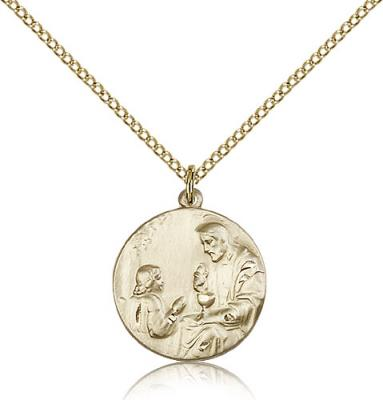 "Gold Filled St. Christopher Pendant, Gold Filled Lite Curb Chain, 3/4"" x 5/8"""