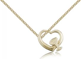 "Gold Filled Heart / Chalice Pendant, Gold Filled Lite Curb Chain, 1/2"" x 5/8"""