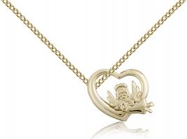 "Gold Filled Heart / Guardian Angel Pendant, Gold Filled Lite Curb Chain, 1/2"" x 5/8"""