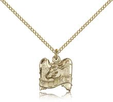 "Gold Filled St. Luke Pendant, Gold Filled Lite Curb Chain, 1/2"" x 1/2"""