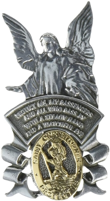 Pewter Guardian Angel with Gold Saint Christopher Medal Visor Clip 42136