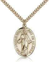 "Gold Filled Our Father Pendant, Stainless Gold Heavy Curb Chain, 1 1/8"" x 3/4"""