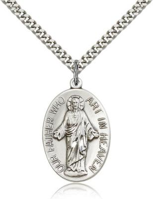 "Sterling Silver Our Father Pendant, Stainless Silver Heavy Curb Chain, 1 1/8"" x 3/4"""