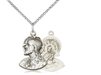 "Sterling Silver Head of Christ Pendant, Sterling Silver Lite Curb Chain, 3/4"" x 1/2"""