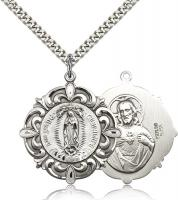 "Sterling Silver Our Lady of Guadalupe Pendant, Stainless Silver Heavy Curb Chain, 1 1/4"" x 1 1/8"""