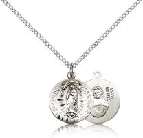 "Sterling Silver Our Lady of Guadalupe Pendant, Sterling Silver Lite Curb Chain, 5/8"" x 1/2"""