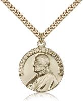 "Gold Filled St. John Neumann Pendant, Stainless Gold Heavy Curb Chain, 1"" x 7/8"""