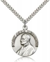 "Sterling Silver St. John Neumann Pendant, Stainless Silver Heavy Curb Chain, 1"" x 7/8"""