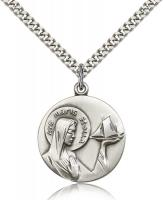 "Sterling Silver Our Lady Star of the Sea Pendant, Stainless Silver Heavy Curb Chain, 1"" x 7/8"""
